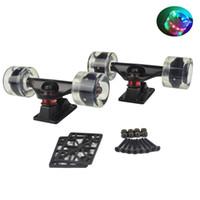 Wholesale quot Black Silver Skateboard Trucks mm LED Wheels Combo