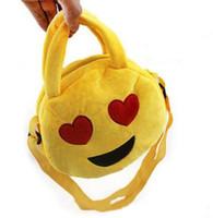 Wholesale NEW Emoji Plush Bags Cartoon Kids Bag cm Children Handbags Shoulder Bag Cute Emoji Smiley Bag Round Emoji Snack Bags Emoji Plush Toys