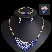 Wholesale party wedding bride jewelry set necklace ring bracelet earring crystal jewelry