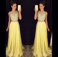 achat en gros de longues robes de bal jaune-Deux Pièces Robes de bal 2016 Sexy jaune en mousseline de soie perles étage Longueur Taille Cheap College Party Retrouvailles robes plus longue Soirée Pageant
