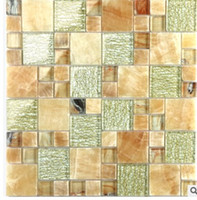 Wholesale Mediterranean ice split crystal mosaic glass background wall swimming pool bathroom kitchen tiles D