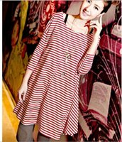 Wholesale Maternity clothing women s summer navy stripe loose plus size o neck spring one piece dress