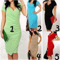 Wholesale 4 Colors Work Pencil Dresses Women V Neck Pencil Dresses Prom Dresses Party Evening Dress Plus Size Dress Irregular Dress CCA4760