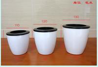 Wholesale 2pcs lazy flower pot automatic water absorbing resin plastic flower pot bonsai personality white circular gardening