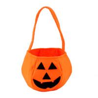 basket weaving patterns - Mix Order Halloween Festival Pumpkin Round Basket Non woven Fabric Pumpkin Pattern Candy Hand Bags Drop Shipping