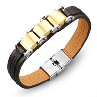 Wholesale Genuine Leather Bracelet Men Stainless Steel Leather Men Punk Bracelet Golden Black Bracelet Pulseiras Masculina SPH964