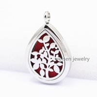 Wholesale New mm Silver Waterdrop L Stainless Steel Perfume Locket Water Drop Aromatherapy Essential Oil Diffuser Locket Pendant Necklace