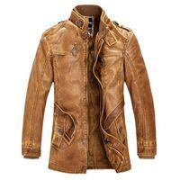 Wholesale Leather Jacket men Slim Warm mens washed Leather Motorcycle Biker Jackets Standing Collar Coat Plus size XXXL outdoor parka