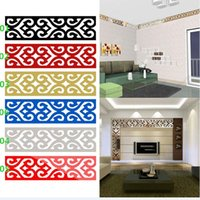 backgrounds toppings - Top Seller D Mirror DIY Removable Wallpaper Skirting Wall Stickers Ceiling Background Decal Acrylic Home Decor JM28