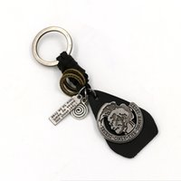 advertising portraits - Brave Head portrait Leather key Rings advertising gift keychain Creative Classic Fashion Jewelry Key fob Retro Metal Keychains For Men Gifts
