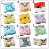 Wholesale 11Styles Poke wallet Pikachu Eevee Short Wallet Cartoon Movie Anime Characters pu purse for girls and boys Unisex XMAS Gifts x10x2cm EMS