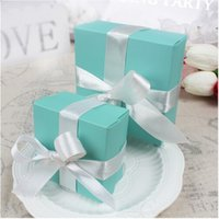 Wholesale 100pcs Cute Candy Box Brand Wedding Decoration Jewelry Gift Case Pouch Favor Sweets Box with Silk Ribbon Event Party Supplies