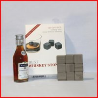 Wholesale whisky stones with velvet bags and gift box beer stone cm whiskey ice stone whiskey stones Physical Cooling Cooler