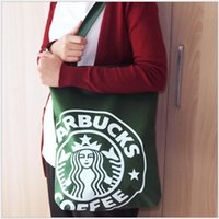 Wholesale 2016 New middle size shoulder bag shopping bag eco friendly green Starbucks Coffee travel bag