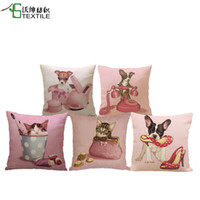 Wholesale New Arrival Pink Cat Dog Cushion Animal Throw Pillows Case Polyester Cotton Linen Pillowcase Cojines Capa Para Almofada