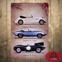 antique luxury cars - Metal Tin signs British luxury car Garage Pub Bar Home Restaurant Bar iron Paintings Wall Decor