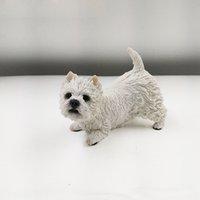art doggie - White Mini cute doggie resin arts Lying Prone West Highland Terrier Simulation Figurine home decor wedding party Decorations supplies
