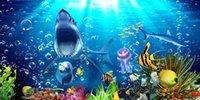 big house fabrics - Custom large murals fabric wallpaper d wall paper sitting room bedroom TV sofa background Underwater sea world lovely big shark