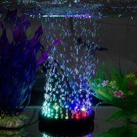 aquarium air stone led - Aquarium Fish Tank Air Curtain Bubble Stone Disk with Multi color LED Light
