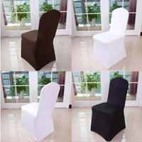 banquet high chairs - Wolesale hotel hotel chair cover wedding wedding pure color with thick white elastic high end banquet chair cover WA0101