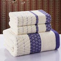 Wholesale 3Pcs Cotton Plain Bath Towel Set for Adults High Quality Soft Luxury Beach Towel Large Women Man Face Towels