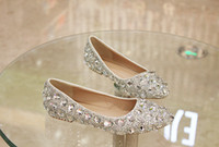 Wholesale 2016 Flat Low Heels Crystal Wedding Shoes Silver Handmade Rhinestone Diamond Elegant Bridal Dress Shoes EUR Size