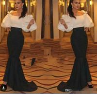arabia pictures - Hot Sake Saudi Arabia Mermaid Evening Dress Fashion Bateau Neck Puffy Sleeve Prom Dress Sweep Train Arabic Party Dress Custom made