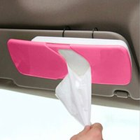 Wholesale Hot Universal Creative Car Sun Visor Tissue Holder Box Slide Cover Paper Napkin Holder Auto Accessories Red E5M1 order lt no t