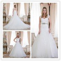vogue wedding dress - Vintage Backless A Line Wedding Dress Robe De Mariage Applique Beading Sashes Pleat Button Chapel Train Bridal Gowns Vogue