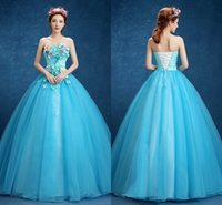 Wholesale B New Arrival Quinceanera Dresses Fashionable Strapless With Handmade Colorful Flower Ball Gown Floor Length Long Prom Formal Gowns Hot