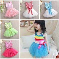 ballet neck dress - 9 Colors Kids Girls Sundress Striped Dress Princess Dress Ballet Tutu Dress Lace Ribbon Party Dress Kids Summer Clothing T