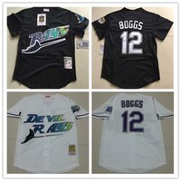 baseball black - Mens Tampa Bay Rays Wade Boggs VINTAGE Baseball Jerseys Pullover Mesh BP Throwback Cooperstown Black Jersey