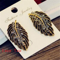 antique costume jewelry earrings - Antique Gold Silver Plated Leaf Earrings Fashion Crystal Stud Earrings for Women Vintage Jewelry Party Costume Bijoux Femme