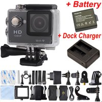 action batteries - 2pcs Battery Dock Charger EKEN W9 Full HD P Waterproof Action Camera WIFI Sports Camcorder SJ6000 SJ7000