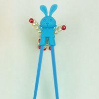 Wholesale Lovely Rabbit Chopsticks Learning Chopstick for Kids Melamine Chopsticks With Silicone Cap