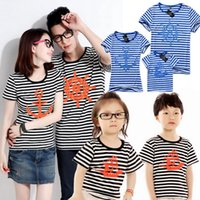 Wholesale Family Look Matching Clothing Outfits Tops Short sleeve Navy Striped T shirt Clothes Tee For Mother Daughter And Father Son Kids