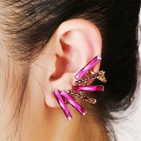 rep - Classic red roses diamond zirconium Shiershan clip tide earhook shiny new European and American fashion earrings clip Rep