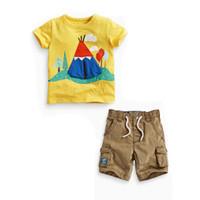2016 летняя детская одежда малышей вязание одежды хлопка мультфильм дом короткий рукав желтый футболка топ саржа шорты 2pcs комплекты оптом