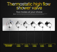 Wholesale Bathroom accessories way Brass chrome thermostatic shower valve high flow L min water faucet mixer