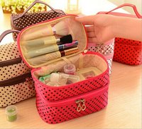 Wholesale New Arrival dot cosmetic makeup bags cases boxes cheap Womens Makeup bags large capacity portable storage travel make up bags cases