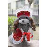 Wholesale 10PCS Newest Polyester lace Victorian Princess Elegant Lace Cap with Wig Plus Pet Shawl Skirt Suits for Pet Doggy