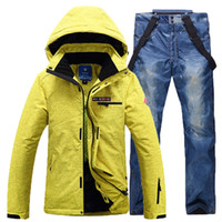 Wholesale winter men s Ski amp Snowboard set thick waterproof windproof warmth outdoor sport jackets and pant descente