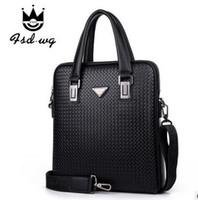 Wholesale Genuine Leather Braided lines Bag Fashion Business Briefcase Laptop Bag Men s Travel Bags Zipper Totes Men Messenger Bags Leather Handbag