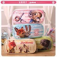 Wholesale High Quality Zootopia multi function Stationery Bag Large Capacity Zootopia Pencil Bags Students Stationery Bags Cosmetic Bag LA236
