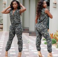 achat en gros de armée jumpsuit-Hot Sale camouflage Jumpsuit pour les femmes sans manches unique-Breasted Army Green Fashion cool bandage Bodycon Jumpsuits