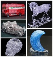 antique bus - 3D Crystal Puzzle Vintage Antique Car Double Decker Bus Skull Elephant Home Decoration Birthday Gift Toys No retail box