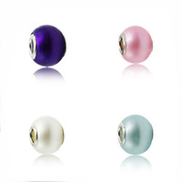Wholesale Murano Glass Charms Beads Fits European DIY Bracelets Imitation Pearls Silver Glass Charms Loose Beads Bracelet Accessories