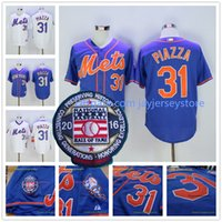 Wholesale Mike Piazza Jersey with Hall of Fame Patch New York Mets Jerseys Cool Base White Pinstripe Grey Camo Blue Orange