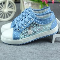 beautiful womens shoes - Womens denim Shoes Spring new low fashion Beautiful Breathable Hollow Shoes Canvas Flat Casual Shoes Woman Zapatillas mujer