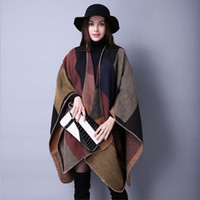 Wholesale Ms autumn and winter scarves wild plaid cashmere shawl European and American travel trade national wind split thick cloak cape coat shawl s